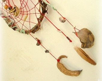 Dream catcher - gorgeous large dreamcatcher weaved in red with gorgeous natural pods