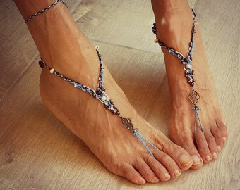 Tribal macrame barefoot sandals ocean blue and brown happy feet jewelry bridal anklet bohemian shoes