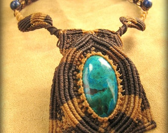 Chrysocolla Fiber Necklace in Brown and Tan Micro Macrame with Lapis Lazuli and Obsidian