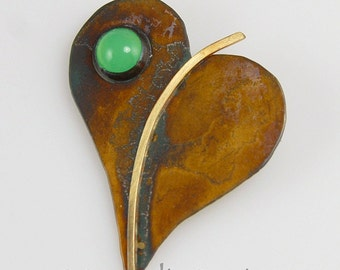 Lilac Leaf Heart Pin Brooch with Chrysoprase Gemstone,  Patina Sterling Silver Heart Pin, Leaf Brooch with Gold Stem and Green Stone