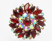 Red Rhinestone Vintage Brooch