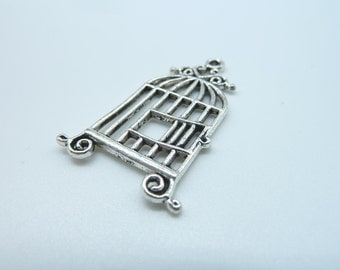 10pcs 20x34mm Antique Silver Filigree Bird Cage Charms Pendant B340