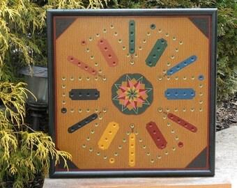 "25"", Aggravation,  Frustration,  Game Board,  Folk Art,  Game Boards, Hand Painted, Primitive, Wood, Wooden"