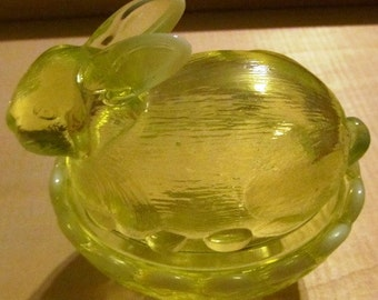 Vaseline Glass Bunny on Basket Candy Dish