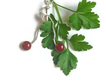Bezel set 8mm AAA garnet  and sterling Silver double ripe cherry stem necklace, garden fresh, metalsmith, Cherry pie, modern art, whimsical,
