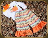 Girls Birthday Pumpkin T shirt and Chevron Ruffle Pants Outfit Skirt Capris Toddler School Tween Long or Short Sleeve