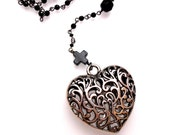 VALENTINE'S DAY Sale! From 60.00 to 49.99 ~ Filigree 3D Heart & Onyx Cross w/Beaded Onyx Rosary Style Necklace, Handmade Jewelry in NYC
