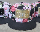ROJAS floral metal snapback hat royalty nyc flower power  king love cunty queen bitch