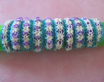 "Elsa Frozen Rainbow Loom "" Starburst"" Stretch Bracelets-- Lot of 10 ---- Perfect for Birthdays, Party Favors--"