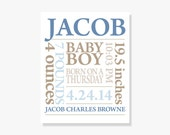 ART PRINT: Personalized Baby Boy Nursery Decor Made to Order Baby Name Print in Blue and Khaki or Customize Colors!
