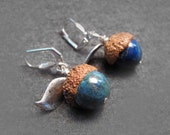 Malachite, Azurite and Pyrite Real Acorn Hats Silver Plated Earrings with Custom Stamp
