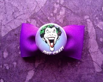 Purple Joker hair bow