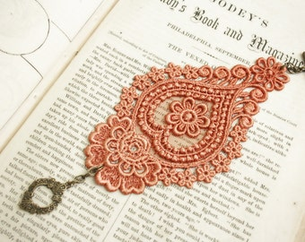 lace bracelet cuff -AGHNA- burnt orange