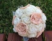 Handmade Natural Peach and Ivory  Balsa Wood Flower Wedding Bouquet---Sola Flower Bridal Bouquet
