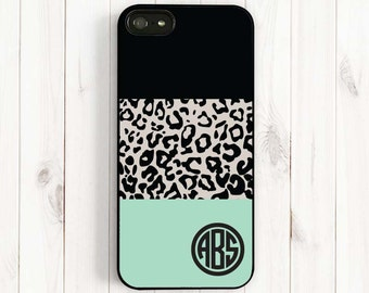 Leopard Monogram Personalized iPhone 7 6 plus 5s 5c 5 4s Case, Leopard Pattern Samsung Galaxy s5 s4 s3, Note 3 Case, Phone Cover AM66