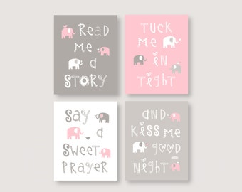 Read me a story, Elephant Nursery Decor, Pink and Gray Girl Wall art, Print Quad, girl baby gift, UNFRAMED PRINTS