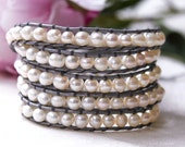 Freshwater Pearl and Silver Wrap Bracelet