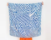 Stripe furoshiki (navy) Japanese eco wrapping textile/scarf, handmade in Japan