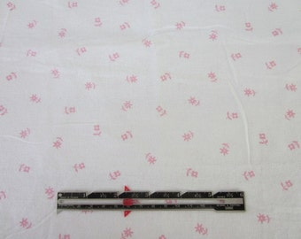 Flannel Fabric Pink Posy on White. Pink flowers.  LAST PIECE.
