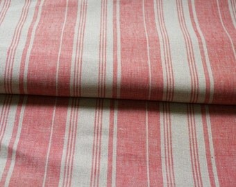 Pure  linen fabric with red & gray stripes--Natural--Fine--Linen 120cm