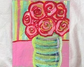 Pink and Red Roses, Floral Abstract Still Life Painting