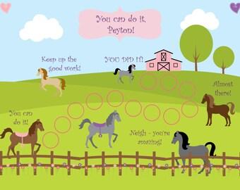 PRINTABLE Personalized Kids Incentive/Reward Chart -  Horses- 2 VERSIONS!  Printable Jpeg or PDF