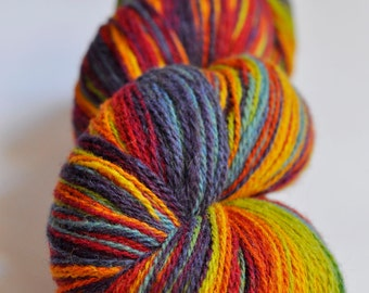 KAUNI Wool Yarn, 2ply, 8/2,  Fingering Sock yarn, Self-Striping Rainbow