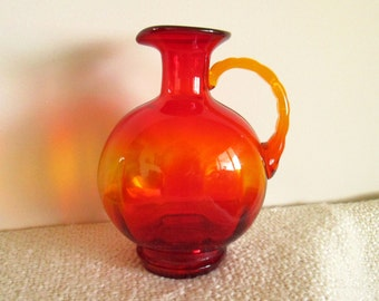 Red Orange Glass Pitcher, Vase