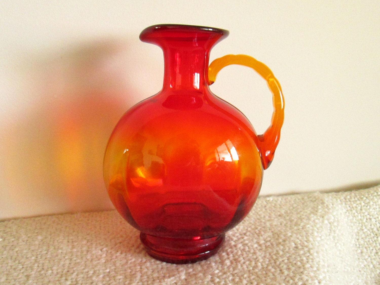 Red orange glass pitcher vase for Orange vase
