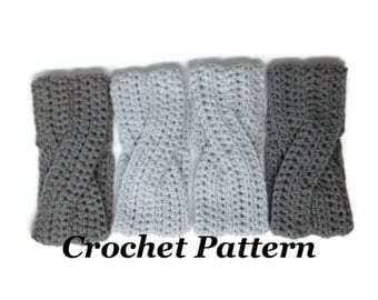 CROCHET PATTERN: Crossover Headband, Crochet Winter Headband Pattern, Girls Earwarmer Pattern, Women Headband Pattern, Crochet Head Wrap