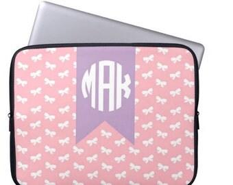 Personalized Laptop Sleeve, Monogram Laptop Case - MacBook Sleeve- Choose Colors