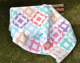 Modern Patchwork Quilt, Pastel Twin Blanket, Churn Dash Quilt, Sofa Throw Blanket,