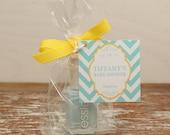 24 Mini Cellophane Favor Bags - Chevron Tag Design - Baby Shower Favor Bags // Party Favor Bags // Bridal Shower Favor Bags