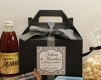 Set of 6 - Out of Town Guest Box // Wedding Welcome Box // Wedding Welcome Bag // Out of Town Guest Bag // West label