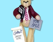 Real Estate Belly Bear HANDMADE Polymer Clay Personalized Christmas Ornament - Matte Finish