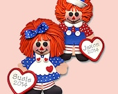 Raggedy Ann & Andy Set  HANDMADE POLYMER CLAY Personalized Christmas Ornament