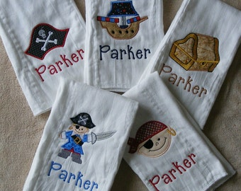 Personalized Pirates 5-piece Burp Cloth Set