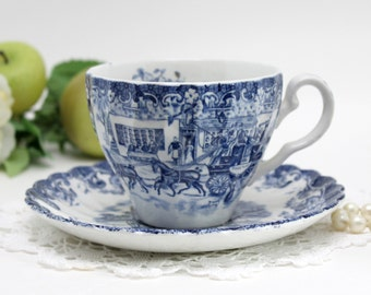 Johnson Bros, Coaching Scenes, Bone China, Vintage Teacups, Tea Cup and Saucer, Porcelain Cups 13206
