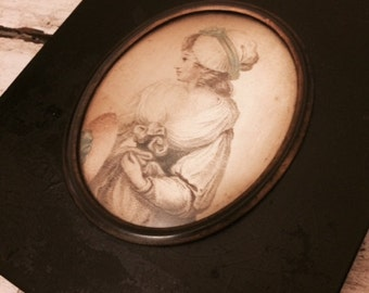 Rare Antique Drawing with Black Wooden Frame from 1800's