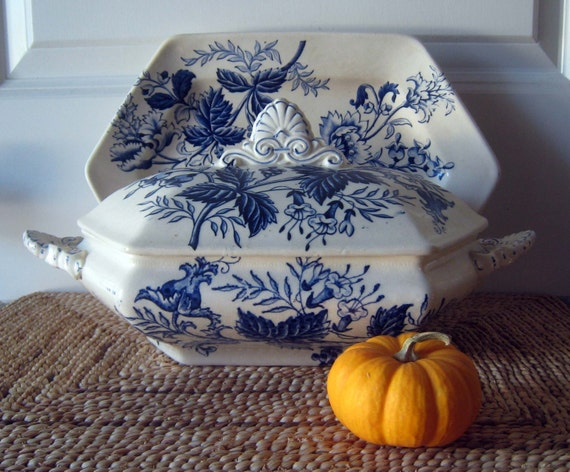French Blue and White Soup Tureen w/Underliner