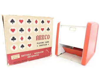 1950s - 60s ARRCO Playing Card Shuffler // Vintage Card Game Shuffler // Vintage Game // Vintage Cards Red and White