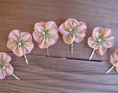 Pink to Green Ombre Cabbage Rose with Pearl Bobby Hair Pin – Vintage Style Ribbon Flower – Wedding Prom Bridal