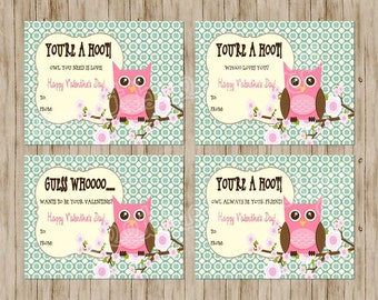 Owl Valentines Day Card - Children's Printable