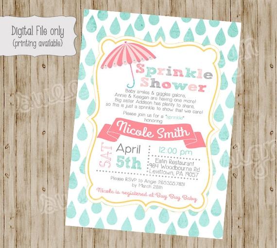 Baby Shower Invitation Baby Sprinkle Invitation Sprinkle
