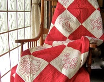 Antique Quilt Red and White Embroidered Quilted 1905 Heirloom Bedding Vintage Decor Wall Display Blankets Quilts