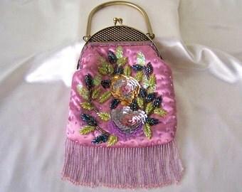 Vintage Pink Satin Sequin Handbag Beaded Cocktail Purse Rose Evening Bag Vintage 1960s