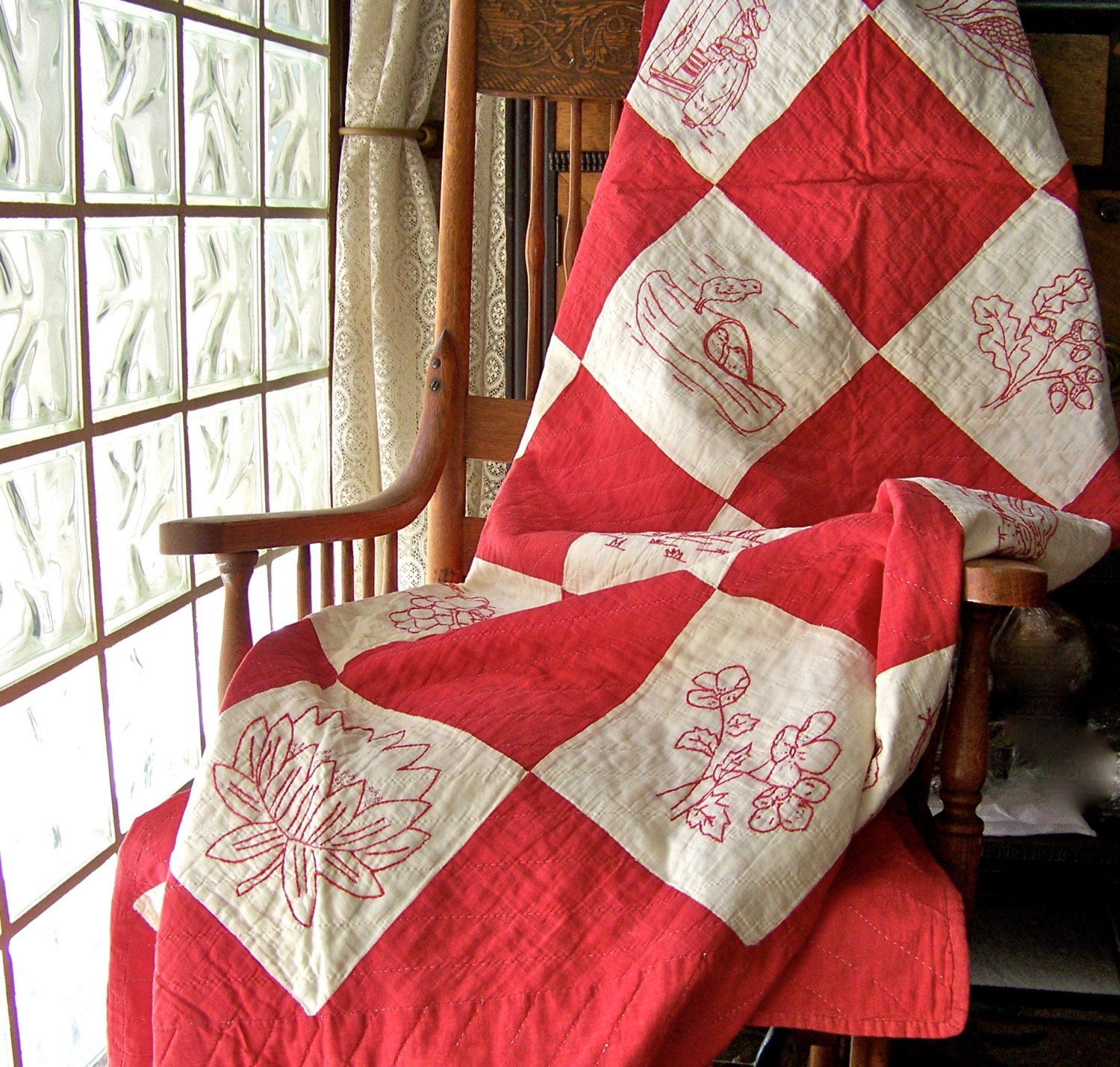 Antique quilt red and white embroidered quilted by