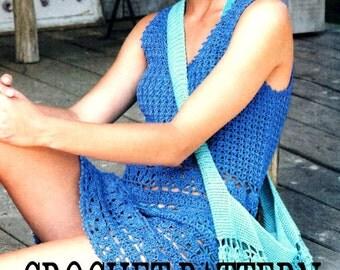 Summer sleeveless crochet dress in PDF only. Instruction only.