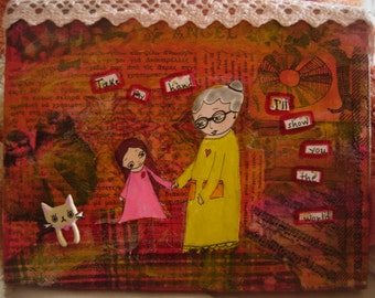 Take my Hand,I'll Show you the World - (for our beloved grandmothers)-art print/reproduction of my mixed media painting on wood