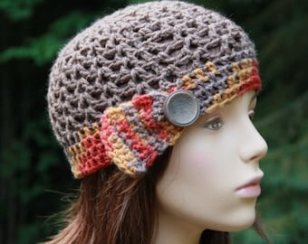 Cloche Hat with side band and button in fall print